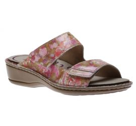 Cambridge 2 Strap Pink/Floral Slide Sandal