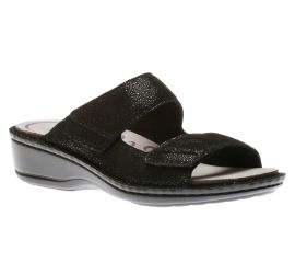 Cambridge 2 Strap Black Slide Sandal