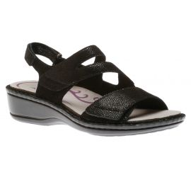 Cambridge 3 Strap Black Sandal