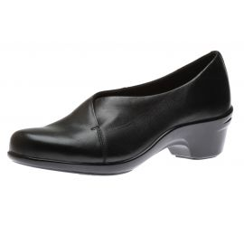 Kitt Asym Black Leather Slip-On Low Heel