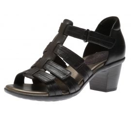 Medici II Black Leather Heeled Sandal
