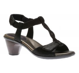 Medici T-Strap Black Leather Open-Toe Sandal
