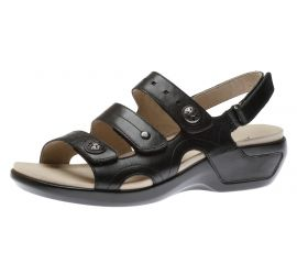 Power Comfort Three Strap Black Leather Sandal