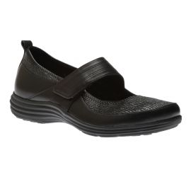 Quinn Black Leather Mary Jane Flat