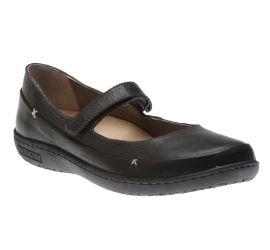 Iona Black Leather Mary Jane Flat