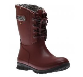 Amanda Plush Lace-Up Burgundy  Women's Insulated Rain Boot