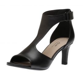 Alice Flame Black Leather Heeled Sandal
