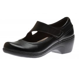 Channing Penny Black Leather Mary Jane Flat