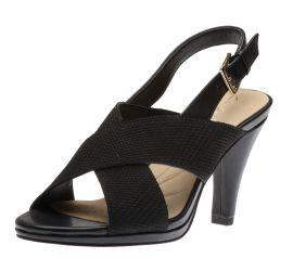 Dalia Lotus Black Heeled Slingback Sandal