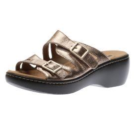 Delana Liri Pewter Metallic Slide Sandal