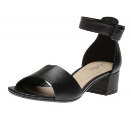 Elisa Dedra Black Leather Open-Toe Sandal