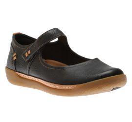 Un Haven Strap Black Leather Mary Jane Flat