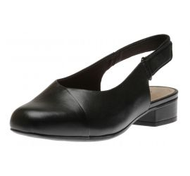 Juliet Pull Black Leather Slingback Heel
