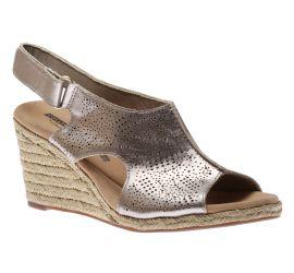 Lafley Rosen Pewter Metallic Espadrille Wedge Sandal