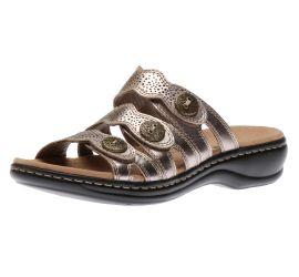 Leisa Grace Pewter Metallic Leather Slide Sandal