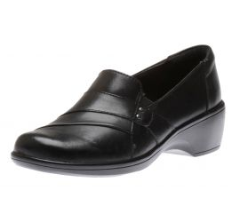 May Marigold Black Leather Slip-On Dress Loafer