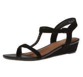 Parram Blanc Black Suede Wedge Sandal