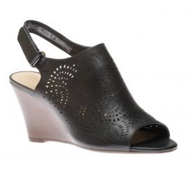 Raven Dawn Black Leather Wedge Sandal