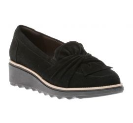 Sharon Dasher Black Suede Wedge Loafer