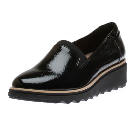 Sharon Dolly Black Patent Wedge Loafer