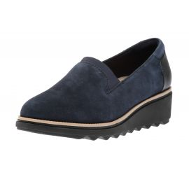 Sharon Dolly Navy Suede Wedge Loafer