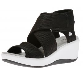 Step Cali Palm Black Platform Wedge Sandal
