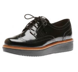 Teadale Maira Black Patent Leather Wedge Oxford Lace-Up