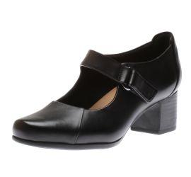 Un Damson Vibe Black Leather Mary Jane Pump