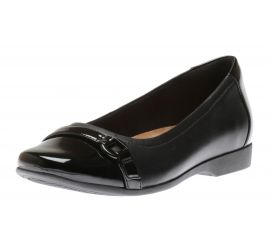 Un Darcey Go Black Leather Ballet Flat
