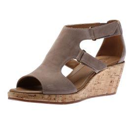 Un Plaza Strap Grey Wedge Heel Sandal
