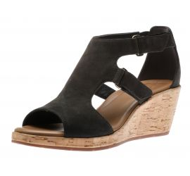 Un Plaza Strap Black Wedge Heel Sandal