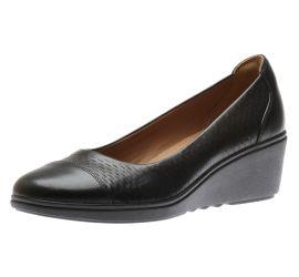 Un Tallara Dee Black Leather Wedge Heel