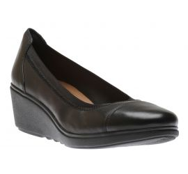 Un Tallara Liz Black Leather Wedge Heel