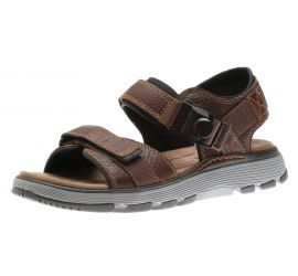 Un Trek Part Dark Tan Leather Sandal