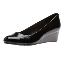 Vendra Bloom Black Patent Leather Wedge Heel