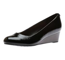 Vendra Bloom Black Patent Leather Wedge Heel