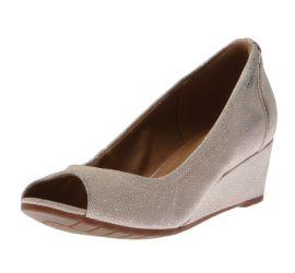 Vendra Daisy Nude Nubuck Peep-Toe Wedge Heel