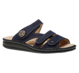 Agueda Blue Nubuck Leather Slide Sandal