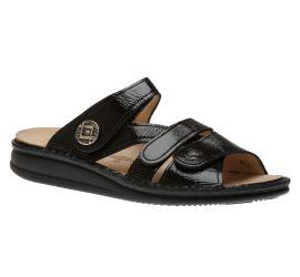 Agueda Black Patent Leather Slide Sandal