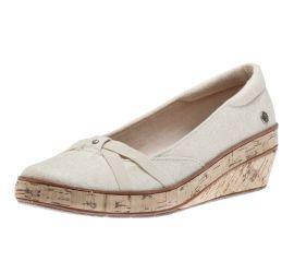 Gigi Metallic Linen Wedge Heel