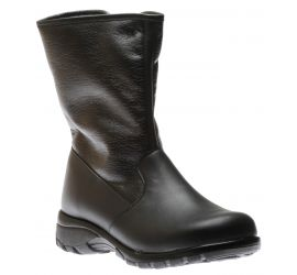 Shield Black Leather Mid-Calf Winter Boot