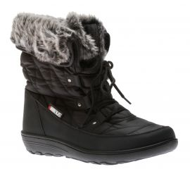 Snowflake Black Lace-up Winter Boot