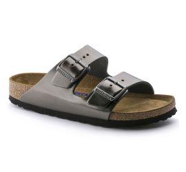 Arizona Metallic Anthracite Leather Sandal