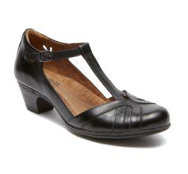 Angelina Black T-Strap Low Heel
