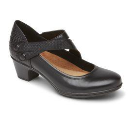 Kailyn Asymmetrical Black Leather Mary Jane