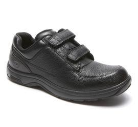 Winslow Black Leather Two-Strap Hook & Loop Oxford Shoe