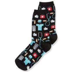 Hotsox Women's Medical Black Crew Socks