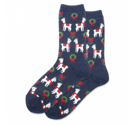 Hotsox Women's Holiday Llama Crew Socks