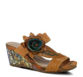 Shayla Camel Leather Wedge Slide Sandal