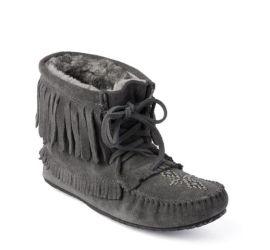Harvester Charcoal Suede Fleece-Lined Fringe Moccasin Boot